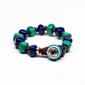 Moi Martino bracelet with unisex blue and green glass stones