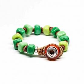 Moi Legnano bracelet with unisex green glass stones