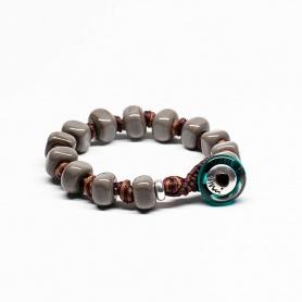 Moi Apollo bracelet with unisex gray glass stones