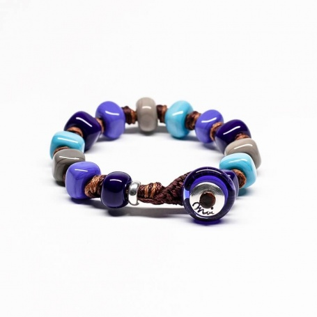 Moi Denim bracelet with unisex gray blue and turquoise glass stones