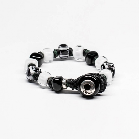 Moi Gala bracelet with unisex black and white glass stones