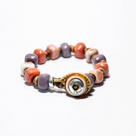 Moi Island bracelet with unisex pink lilac glass and coral stones