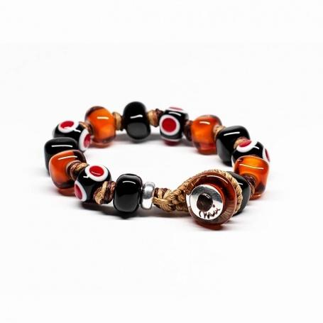 Moi Miele bracelet with black glass stones and unisex honey