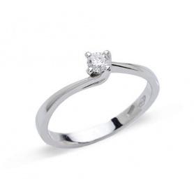Anello solitario Valentine in oro bianco con diamante naturale 0.15ct