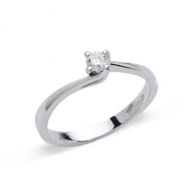 Valentine solitaire ring in white gold with 0.15 ct natural diamond