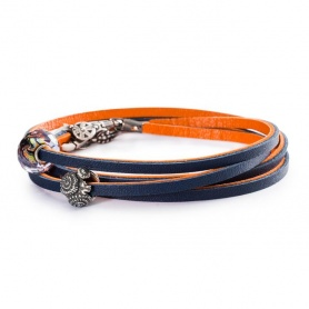 Leather Bracelet Orange/Navy - L5117