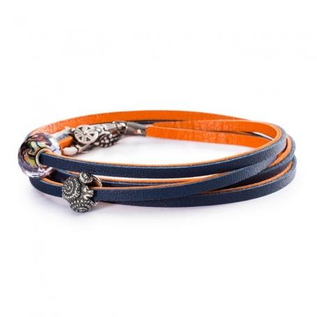 Leather Bracelet Orange/Navy - L5117