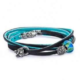 Bracciale in Cuoio Azzurro/Nero - L5118