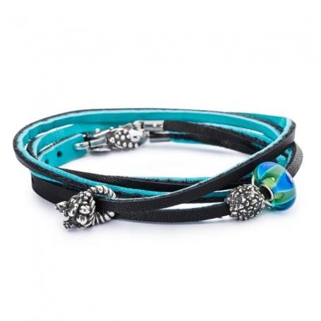 Leather Bracelet blue/black-L5118