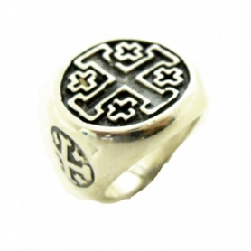 Silver ring with Crusader Cross-AN442