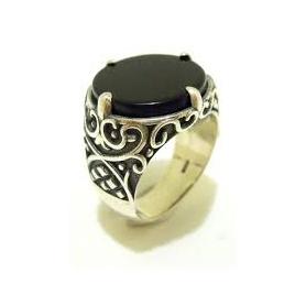 Silber und Onyx Ring-AN507