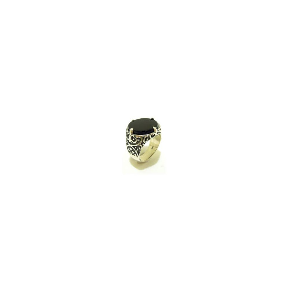 silver and onyx ring an507