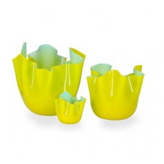 Two-toned Handkerchief vase Blue/Yellow large-700.00G