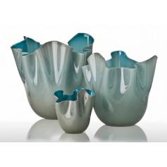 Handkerchief vase two-tone grey/blue large-700.00 GR