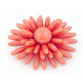 Red Coral Brooches whit 18kt gold