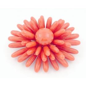 Spilla in Corallo rosso ed oro 18kt