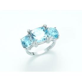 Ring Weissgold mit blauen Topas und Diamanten-KLID1960