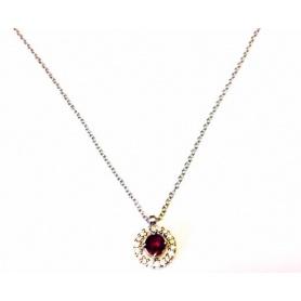 White Gold Halsreif Collier mit Rubin und Diamanten-KCLD2886