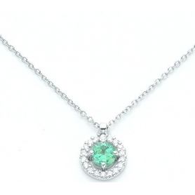 Collana Girocollo in oro bianco con Smeraldo e diamanti - KCLD2888