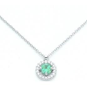Choker-Halskette in Weissgold mit Smaragd und Diamanten-KCLD2888