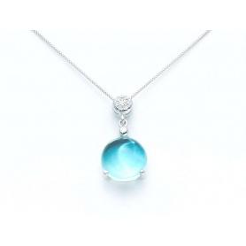 Collierino Girocollo in oro con Topazio azzurro e diamanti - KCLD2827