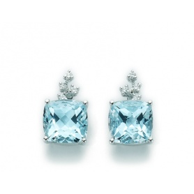 Gold Ohrringe mit blauen Topas und Diamanten-KCLD2827