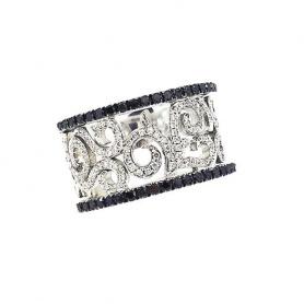 Anello con Brillanti e Diamanti neri - AB13295