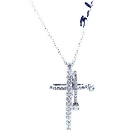 Cross Necklace Salvini Constellation gold and diamonds - 20062183