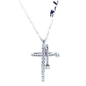 Salvini Sternzeichen Kreuz Halskette in Gold und Diamanten-20062183