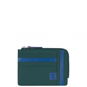 Bustina portamonete in pelle linea Oskar verde - PU1243OK/VE