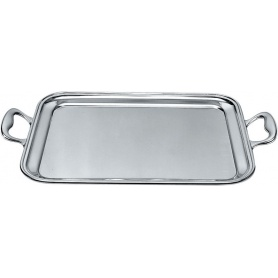 Rectangular tray with handles in 18/10 stainless steel mat - 340/50