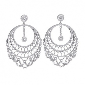 Earrings Frida pendants brass rhodium - 1607890