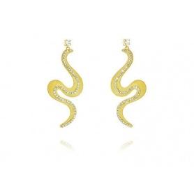 Damen Ohrringe Neumond Schlange und Metall Kristalle-1604540