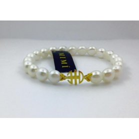 Mimi elastic bracelet with white pearls and logo in yellow gold - B04DA01