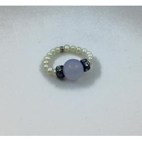 Anello Mimì perle Calcedonio - A023T120