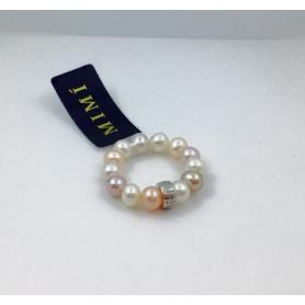 Mimi-Perle und Silber ring multicolor-A023SXM