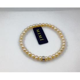Bracciale elastica con perle rosa piccole e argento - B02302AR