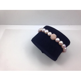Elastic pink pearls bracelet with pink opal rose - B040G1S