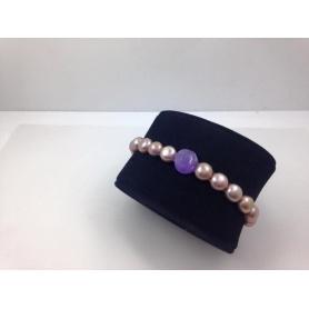 Bracciale elastica con rosa in giaga lavanda - B040G1L