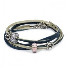 Leather Bracelet dark blue/light grey 36 cm-L5119-36