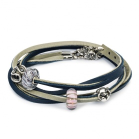 Leather Bracelet dark blue/light grey 41 cm-L5119-41