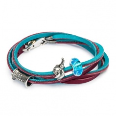 Turquoise Leather Bracelet/Burgundy 41 cm-L5120-41