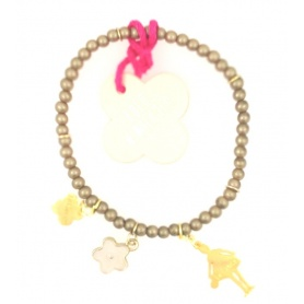 Bracciale bambola Le Carose perline dorate