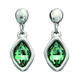 Orecchini pendenti Uno de50  in metallo e cristalli verdi - Bum Bum