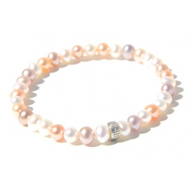Mimi elastic bracelet with pearls and silver small ring muticolor model