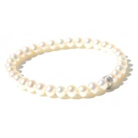 Elastisches Armband mit kleinen weissen Perlen und Silber-B02301AR