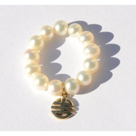 Anello Mimì perle e charms Ogni bene in oro giallo - A023LA