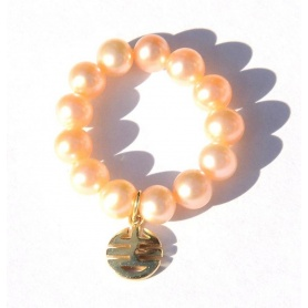 Elastic Ring Mimi cream pearls and charms Every Well, yellow gold - A023LA-C