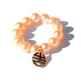 Anello Mimì perle crema e charms Ogni Bene in oro rosa - A023LR-C