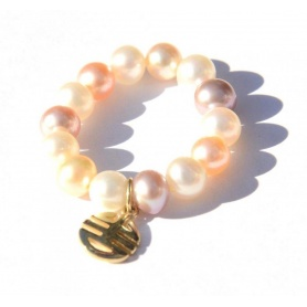 Mimi ring multicolor pearls and charms Every Well, yellow gold - A023LA-M